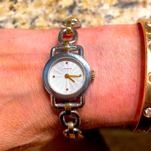 Authentic two-tone coach bracelet watch